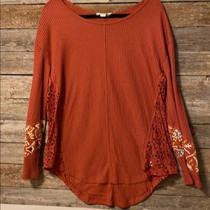 Simply noelle burnt orange long sleeve tunic